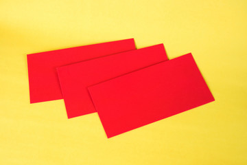Blank red envelop on yellow background with space for add text, Chinese new year concept