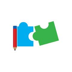 Pencil Puzzle Logo Icon Design
