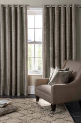 room window with curtains interior