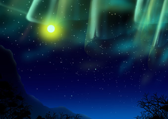 オーロラと満月