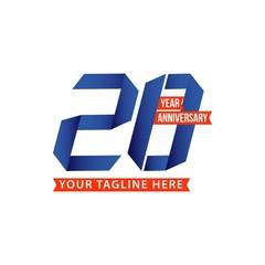 20 Year Anniversary Vector Template Design