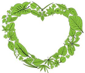 green leaves heart frame, vector, illustration