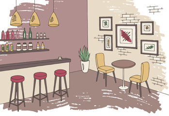 Cafe bar graphic color interior sketch illustration vector