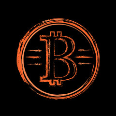 Gold bitcoin ink drawing, vintage style for t shirt and printing.