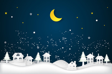 cityscape in the dark night and half moon as as paper art and craft style concept. vector illustration.