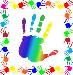 handprints border with big rainbow palm in center
