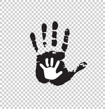 Black and white silhouette of adult and baby hand isolated