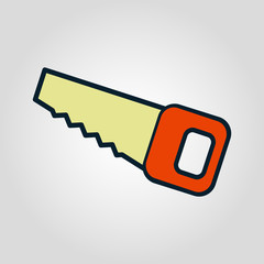 Hand saw  isolated flat vector icon