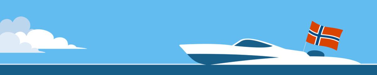 Motor boat with norwegian flag