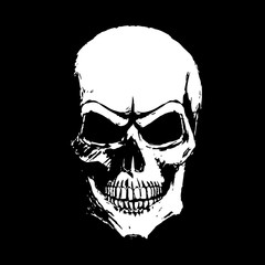 White skull on a black background