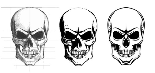 Illustration of three skulls in different versions.