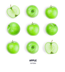 Seamless pattern green apple fruits. isolated on white background.