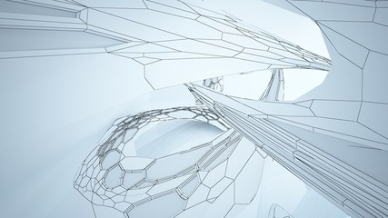 Abstract drawing white parametric interior  with window. Polygon colored drawing. 3D illustration and rendering.