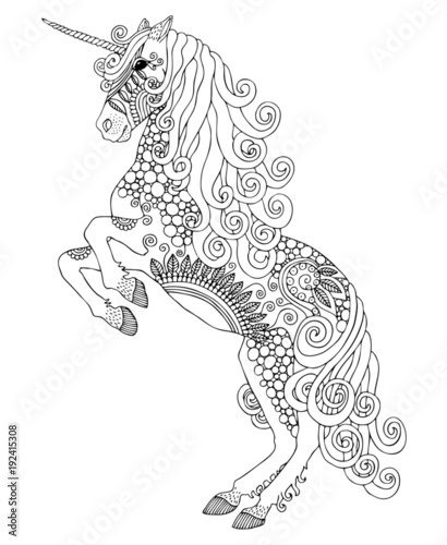 Unicorn Hand Drawn Fantasy Horse Sketch For Anti Stress Adult