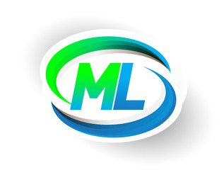initial letter ML logotype company name colored blue and green swoosh design, modern logo concept. vector logo for business and company identity.