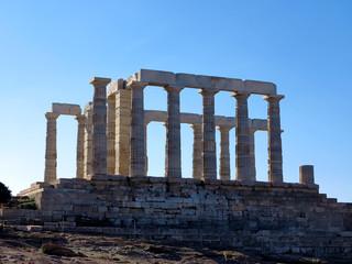 Ancient Temple of Poseidon in Capo Sunio in Attica Greece