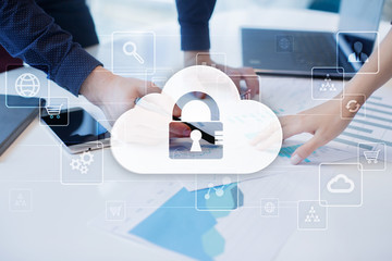 Wall Mural - Cloud technology. Data storage. Networking and internet service concept.