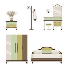 Bedroom Furniture and Decoration Isolated Set