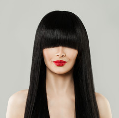 Beautiful Hairstyle Woman Portrait. Model Girl with Long Black Hair and Red Lips