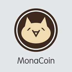 Monacoin - Cryptocurrency Coin Illustration.