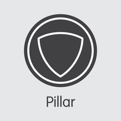 Pillar Cryptocurrency. Vector PLR Web Icon.