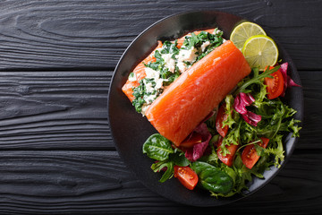 Delicious food: salmon stuffed with spinach and cream cheese and fresh salad close-up. horizontal top view