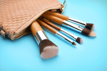 Cosmetic bag with different brushes of professional makeup artist on color background