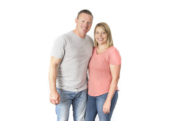young attractive happy couple in love looking sweet and cheerful in wife and husband or girlfriend and boyfriend successful relationship concept