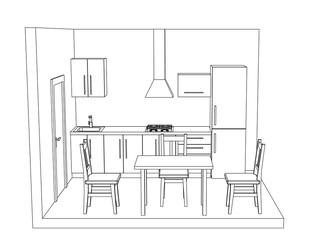 Interior kitchen room on white background. Vector outline illustration.
