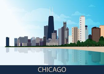Chicago downtown business area background with skyscrapers, lake Michigan, park with green trees and blue sky at summer day. Great view of big usa city. Vector illustration EPS 10