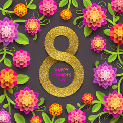 8 March International women's day greeting card - glitter gold paper in the shape of sign eight and flowers background. Vector illustration.