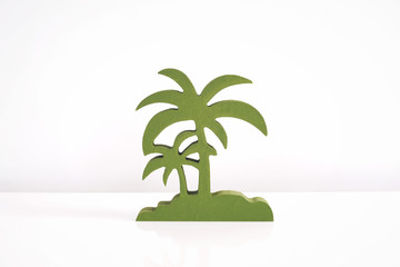 Coconut tree wooden die cut for decoration on white background
