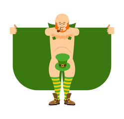 Leprechaun stripper and green hat. Magic exhibitionist. St.Patricks Day for adults. Irish holiday Vector illustration