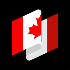 Canada Flag isolated. Canadian ribbon banner. state symbol