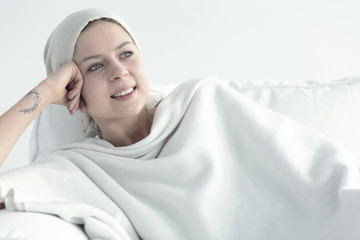 Woman with cancer getting better