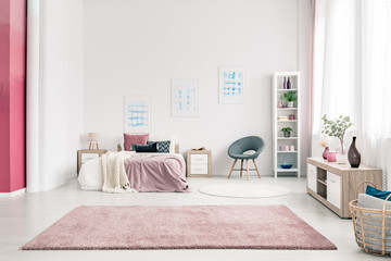 Pink spacious bedroom interior