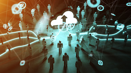 Digital cloud illuminating a group of people 3D rendering