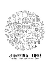 Shopping doodle illustration circle form on a4 paper wallpaper line sketch style