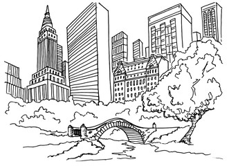 Wall Mural - Hand drawn sketch of Central park in New York city.