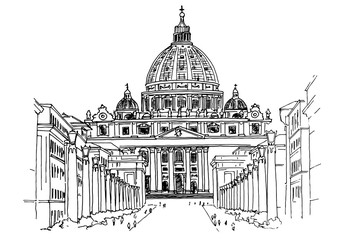 Wall Mural - Vector sketch of St. Peter's Basilica in Rome, Italy