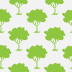 Seamless pattern, vector repeating illustration, decorative ornamental stylized endless trees. Abstract background, seamles graphic illustration