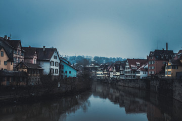Cityscape with old, half-timbered buildings at winter in romantic medieval town of Schwäbisch Hall in Baden-Württemberg, Germany