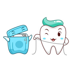 Cute cartoon tooth cleaning itself with dental floss and cartoon dental floss box.