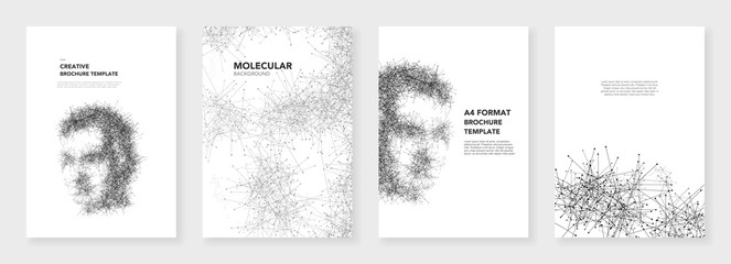 Minimal brochure templates. Molecules on white background. Artificial Intelligence, technology sci-fi concept, abstract vector