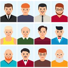 Men's avatars, icon set. Vector flat illustration.