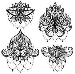 Set ornamental lotus flowers