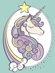 Cute magic unicorn head with horn