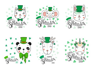 Set of hand drawn portraits of cute funny animals in leprechaun top hats, with text Happy Saint Patrick's day. Isolated objects. Vector illustration. Design concept for children, celebration.