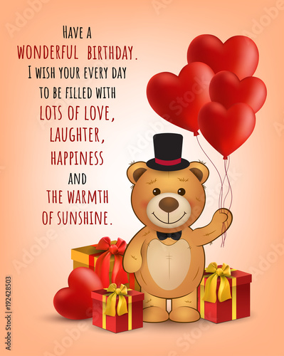 Happy Birthday Card With Cute Teddy Bear And Gifts And Balloons