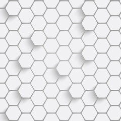 Paper hexagon background with drop shadows. Vector illustration.